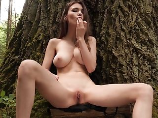 Boyfriend films his busty girl Milla while she teases in outdoors