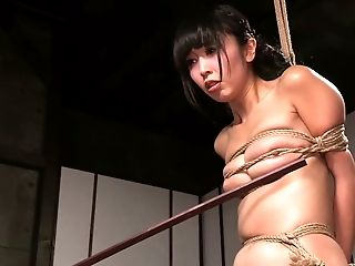 Cute and slender bound Asian girl caned by a black man