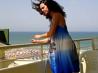 Nikki Ladyboys Blue Dress Balkony