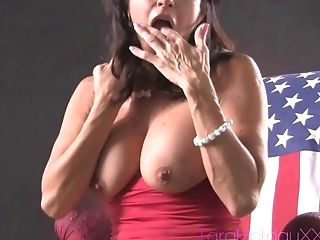 Brunette Tara Holiday masturbating using toy while moaning