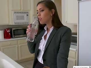 Sex-starved housewife Alina Lopez invites one worker to fuck her nasty pussy