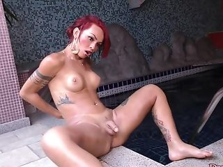 Big Cock, Jerking, Pool, Shemale, Tranny,