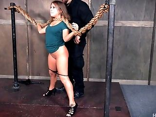 Curvy sub slut in sexy high heels tied up by her master