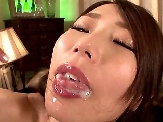 Perfect Japanese brunette getting her mouth filled with sticky cum
