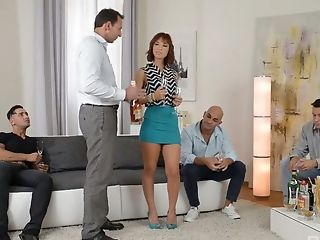 Down to fuck chick Tina Hot serves four hot blooded dudes at the same time
