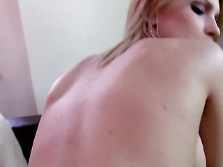 Seductive blond filth gets ass fucked in reverse and doggy poses tough