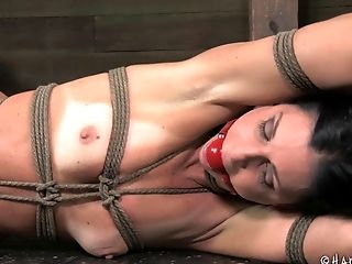 Sexy India Summer is tied up in her very first bondage session
