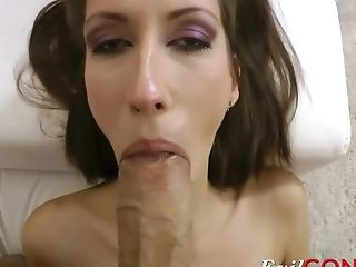 Horny Brunette Taniella rides his huge stiff cock