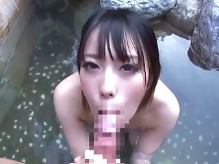 Outdoors fucking in the natural pool with a handsome Asian chick