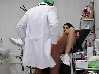 Nasty gynecologist gets to plow a hot brunette babe
