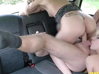 Amazing women share the taxi driver's cock in serious XXX threesome