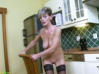 Clit, Fingering, Granny, Hairy, HD, Jerking, Kitchen, Lingerie, Old, Panties,