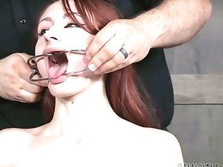 Delicious babe with a ball gag in her mouth Violet Monroe gets her pussy fucked