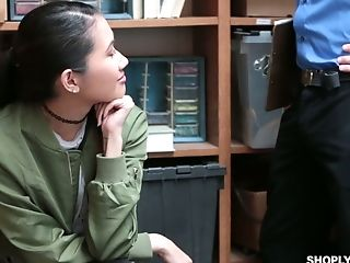 Asian thief Jade Noir gets her pussy punished in the back room