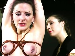 Some femdom bondage sex games with a naughty whore Caroline Pierce