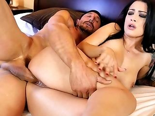 Filthy bitch Katrina Jade is fucking her lover in the hotel room