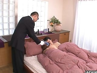Adorable Asian babe Hina Mitsuki squeezes her nipples and finger fucks juicy pussy