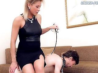 Naughty Russian doll with a fetish ball busting her dude