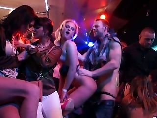 Celine Noiret goes wild in the club and enjoys oral sex while dancing