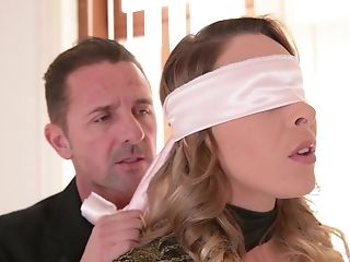 Submissive blonde babe Victoria Summers blindfolded in a MMF threesome