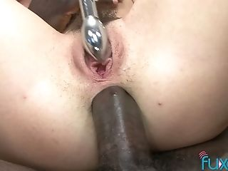 Pallid nympho with natural tits masturbates twat with toy before going interracial