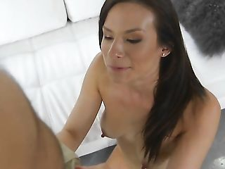 Brunette goddess is totally naked and plays with her pussy hole non-stop