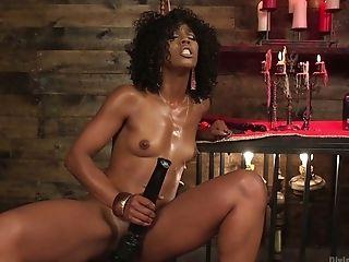 Black mistress Misty Stone punishes ass hole of white submissive dude