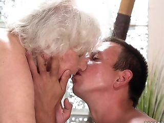 Horny granny Norma finally gets to play with a young cock