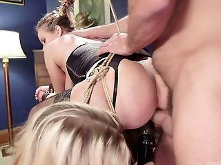 Pervert fucks blond girlfriend Chloe Cherry and her big bottomed step mommy